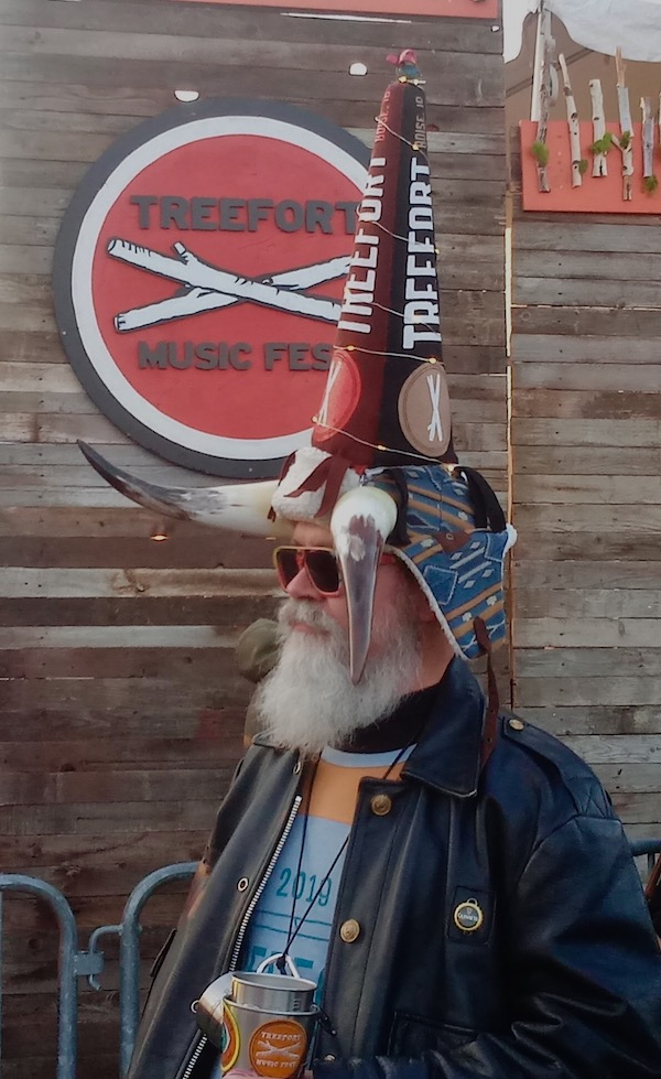 A creatively costumed concertgoer attends the Treefort Music Fest in Boise.