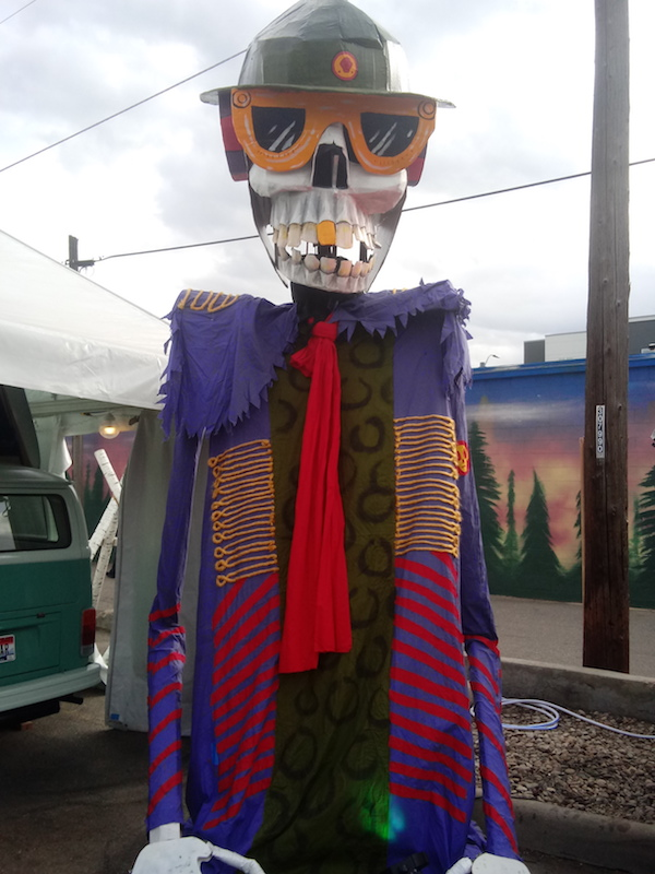 A haunting skeleton art installation looms over the masses at the Treefort Music Fest in Boise.