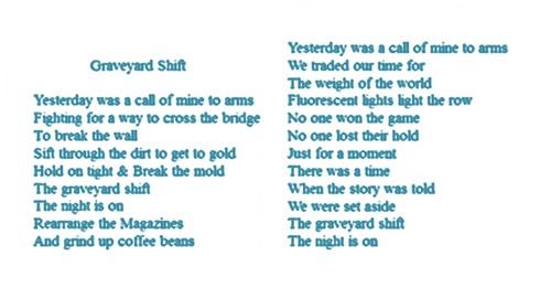 """Graveyard Shift"" lyrics"